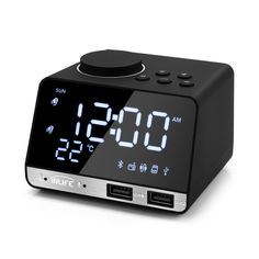 Buy Inlife Bluetooth Radio Alarm Clock Speaker With 2 USB Ports LED Digital Alarm Clock Home Decration Snooze Table Clock Projection Alarm Clock, Radio Alarm Clock, Digital Alarm Clock, Bluetooth, Usb, Alarm Clock Design, Sunrise Alarm Clock, Digital Projection, Tablet