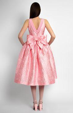 Sleeveless bouffant jacquard silk dress. Round neck with a designer handmade rose. Decorative back belt bow. V-neck with hidden back zip closure. Side seam pockets. #Pintel #babydoll #evening #cocktail #bridal #dress #cute #pretty #silk #jacquard #midi  #style
