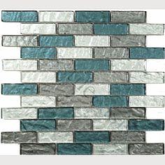 "Rushing River 1"" x 3"" Grey Kitchen Glossy Glass Tile"