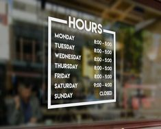 Business Hours Decal for Storefront. Store Hours Decal Personalized for Business Window. Custom Storefront Decal with Hours of Operation