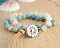 Beachy knotted wrap bracelet. Beaded bohemian chic bracelet