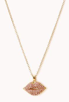 Pink Sweet Lips Rhinestone Pendant Necklace $7.80 (Forever21)