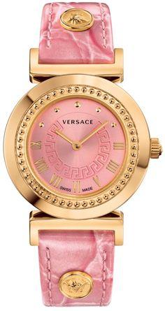 Versace Ladies Goldtone and Pink Vanity Watch # P5Q80D111S11