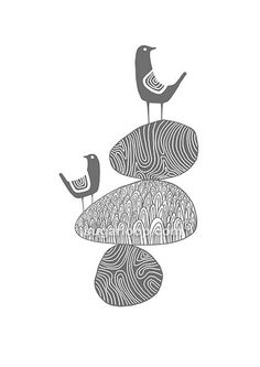 This signed open edition giclée (http://en.wikipedia.org/wiki/Giclee) art print feature two birds balancing on pebbles.    The artwork was originally