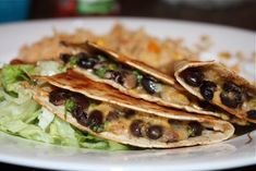 Black Bean Quesadillas----added chicken and it was sooooo good!  Will definitely be making this again!
