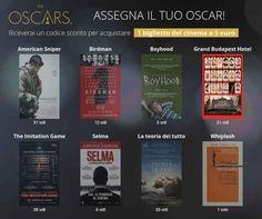 Oscar 2015 scegli il vincitore e ottieni un biglietto a 5 euro - scopri come ottenere un biglietto a ingrosso ridotto valido in tutti gli Ucinemas d'Italia