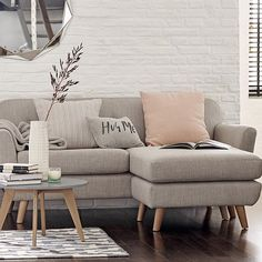Enjoy the #LOFT Malmo collection. We love the #Scandinavian inspired retro styling of this cute contemporary corner sofa. Shown in Veela, linen. [T651173A]. Conran mirror [T277936].