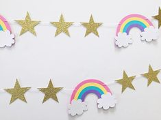 This listing is for a magical rainbow party garland in pink, yellow, blue and purple rainbows with sparkly gold glitter stars. Perfect decor for photo shoots, birthday party decor, table decor and much more! DIMENSIONS: • Gold Stars measure 2.5 in diameter, single sided • Rainbows