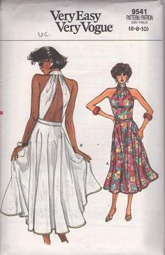 MOMSPatterns Vintage Sewing Patterns - Vogue 9541 Vintage 80's Sewing Pattern MUST SEE! Sexy Open Peekaboo Back Shirred Choker Collar Flared Skirt Sundress, Party Sun Dress Size 6-10 Vintage Vogue, Mode Vintage, Vogue Sewing Patterns, Clothing Patterns, Vintage Dress Patterns, Vintage Dresses, Formal Dress Patterns, Retro Fashion, Vintage Fashion
