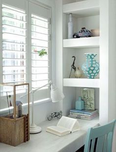 Refreshing home office space Home Office Decor, Shelves, Interior, Office Nook, Home, House Interior, Home Deco, Home And Living, Shelving