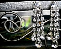 Antique Earrings filled with absolutely gorgeous and stunning rhinestones, clip on's by ALCustomJewelry on Etsy, $22.50