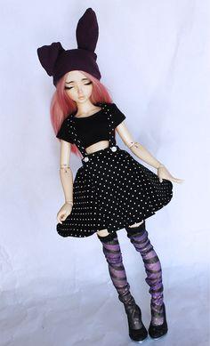 MSD BJD clothes Black polka dot suspender circle by MonstroDesigns