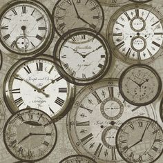 Quirky Clocks Neutral Wallpaper by Ideco Home for GranDeco POB-013-01 ...
