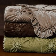 Velvet comforters in woodsy colors