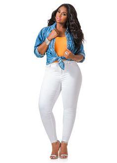 3cddd5e188fa7 Ashley Stewart Destructed Capri Jeans Outfit Essentials #AshleyStewart.  Marguerite Dixon · Plus Size Fashion