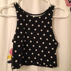 Polka Dot Crop Top Some fading from wash, but otherwise no flaws. I wore for an 80s costume. True to size Tops Crop Tops