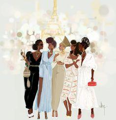 Les petites parisiennes Black Women Art, Black Women Fashion, Black Art, Black Girls, African Beauty, African Women, Popsugar, Art Afro, African American Art