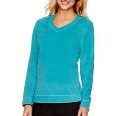 2664cdafec5a Made For Life™ Long-Sleeve Brushed Fleece V-Neck Pullover found at