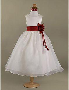 A-line Scoop Floor-length Satin Organza Flower Girl Dress – AUD $ 76.44