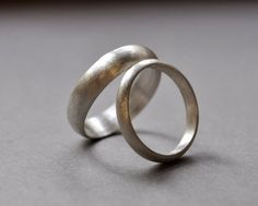 Sterling Silver Wedding Rings. 5mm. 3mm. Brushed Finish. Matte Finish. Wedding Band Set. Holiday Rin