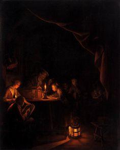 Gerrit Dou: de avondschool. ca. 1660-1665. Rijksmuseum, Amsterdam. In een donker lokaal heft een schoolmeester vermanend, zijn vinger tegen een jongen in de schaduw, terwijl een meisje bij helder kaarslicht geconcentreerd haar les opzegt. Zo krijgt het licht een bijbetekenis als het licht van het verstand. Dou toont hier hoe knap hij kunstlicht kan schilderen, met maar liefst vier verschillende lichtbronnen.