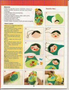 """Free Tutorial on how to make a Felt Matryoshka (Russian Nesting Doll) - sewing with kids (at party or """"kit"""" as part of treat bag? Peg Doll, Dolls, Felt Patterns, Stuffed Toys Patterns, Sewing Crafts, Sewing Projects, Doll Party, Matryoshka Doll, Felt Christmas Ornaments"""