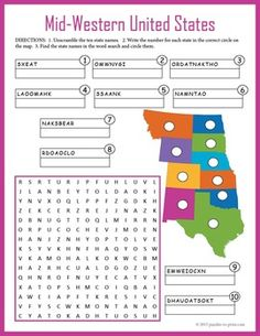 US Geography for kids - Mid-Western United States puzzle worksheet. Geography Worksheets, Geography For Kids, Map Worksheets, Geography Activities, Geography Map, Social Studies Worksheets, Teaching Geography, Library Activities, School Worksheets