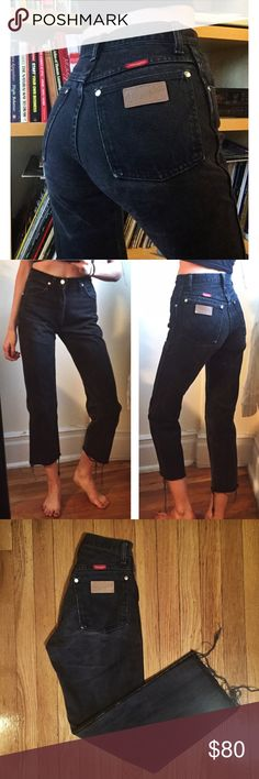 """Size 24 Vintage Wrangler Jeans SUCH A GEM! These size 24 Wrangler jeans are beautiful quality vintage! These actually hug your butt! They're nice and high rise and have cut off and frayed hems. I'm 5'9"""" for reference. Waist 24"""" Rise 11"""" Inseam 26.5"""". Don't pass these up! (Not Ref just listed for exposure) Always cheaper on ♏️! Reformation Jeans"""