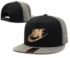 Mens Nike The Classic Nike Iron Gold Metal Logo A-Frame USA 2016 Best Quality Fashion Leisure Snapback Cap - Grey / Black