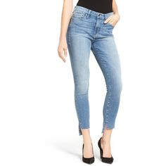 Women's Good American Good Legs Raw Step Hem Skinny Jeans ($169) ❤ liked on Polyvore featuring jeans, skinny fit denim jeans, sexy white jeans, white denim skinny jeans, sexy denim jeans and white jeans