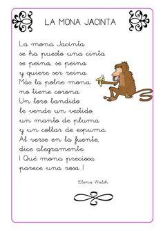Imágenes con POEMAS CORTOS para Niños (Poesias Infantiles) Spanish Lessons For Kids, Spanish Class, Teaching Spanish, Second Grade, Activities For Kids, Homeschool, Poems, Education, Reading