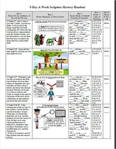"5-Day-A-Week Scripture Mastery! ""What do I do for a few minutes every day with Scripture Mastery?""  Good question! This worksheet (click on graphic), along with the following information should give some concrete ideas. The worksheet can be just for you to use to plan what you will do, or it can be a handout to give each student."