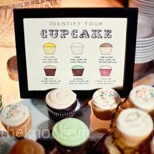 """In addition to their small cake, the couple served up buttercream cupcakes displayed on antique cake plates. Christine made cute """"Identify Your Cupcake"""" signs to go on the table. Cupcake Signs, Cupcake Table, Cupcake Display, Dessert Table, Cupcake Cakes, Cupcake Wedding Display, Cupcake Ideas, Cupcake Party, Dessert Ideas"""