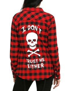 Black and Red Plaid Trust Issues Girls WovenBlack and Red Plaid Trust Issues Girls Woven, RED from Hot Topic Teenage Girl Outfits, Cute Teen Outfits, Casual Summer Outfits, Outfits For Teens, Scene Outfits, Punk Outfits, Grunge Outfits, Fashion Outfits, Style Indie