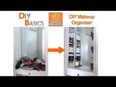 Organizing Tips: DIY Makeup Organizer Makeup Storage Wall, Wall Pocket Organizer, Hanging Makeup Organizer, Small Bathroom Organization, Makeup Organization, Bathroom Ideas, Storage Hacks, Diy Storage, Diy Makeup Vanity