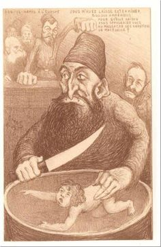 Turkey: Abdul Hamid II (r. Sultan of the Ottoman Empire, represented as a butcher of Armenian children in a French satirical cartoon dated 1903 / Pictures from History / Bridgeman Images Satirical Cartoons, Funny Comedy, Ottoman Empire, Mona Lisa, Banner, Statue, History, Illustration, Artwork