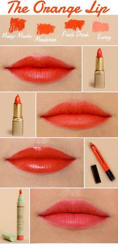 rock the orange  1. Milani Color Perfect Lipstick in Mango Mambo  2. Milani Color Perfect Lipstick in Mandarina  3. Urban Decay Super-Saturated High Gloss Lip Color in Punch Drunk  4. Pixi Lip Blush in Energy