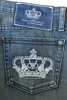 VICTORIA BECKHAM Blue distressed jeans with crystal. Size 10. Phoenix price £72 (down from £90) Ref. 10301/1 Victoria Beckham Jeans, Distressed Jeans, Phoenix, Size 10, Skinny Jeans, Crystal, My Style, Pants, Blue