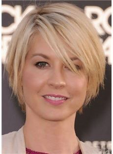 Celebrity Elegante Short Straight Blonde with Black Roots Full Lace Wig 100% Human Hair 8 Inches