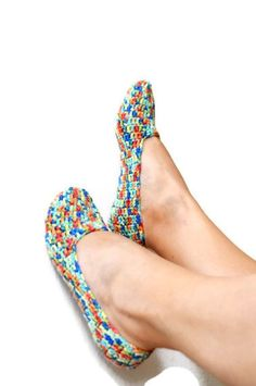 FREE SHiPPiNG Rainbow collorful   Healthy  slippers by NesrinArt
