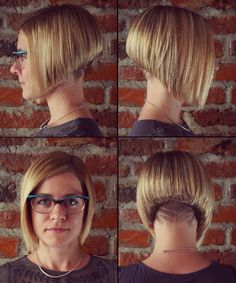 Angled Blond Bob with an Undercut and Hair Tattoo