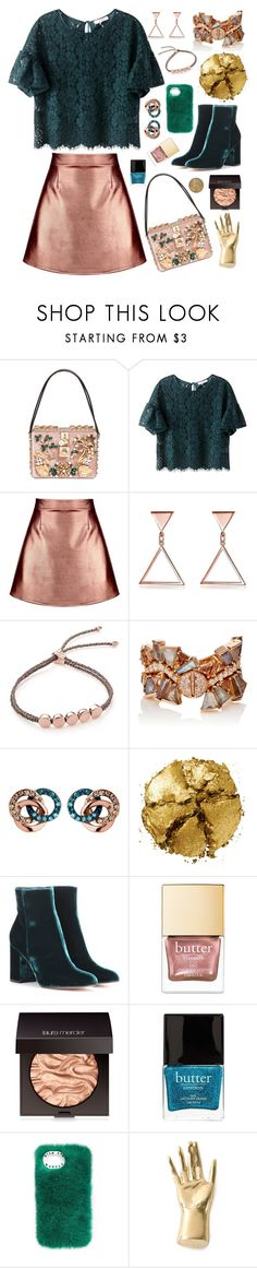 """""""Metallic Emerald"""" by shybaki ❤ liked on Polyvore featuring Dolce&Gabbana, Boohoo, Monica Vinader, Nak Armstrong, Links of London, Pat McGrath, Gianvito Rossi, Laura Mercier, Butter London and Kelly Wearstler"""
