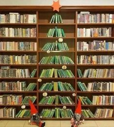 A Christmas tree doesn't actually have to be a tree at all. These creative Christmas tree alternatives might be even better than the real thing. Creative Christmas Trees, Whimsical Christmas, Christmas Tree Themes, Holiday Decorations, Christmas Tree Made Of Books, Library Decorations, Christmas Is Over, Christmas Diy, Holiday Fun