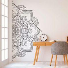 Mandala in Half Wall Sticker Decor for Home Removable Vinyl Sticker for Meditation Yoga Wall Art Living Room Bedroom Mural Decoration Stickers, Wall Decor Stickers, Vinyl Wall Decals, Vinyl Art, Modern Wall Decals, Tile Decals, Diy Decoration, Large Wall Decals, Flower Wall Decals