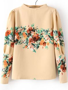 Apricot Stand Collar Long Sleeve Floral Blouse US$26.07