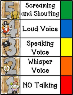 Volume levels for the classroom.....I personally use a 0 for no talking, makes more sense in my room