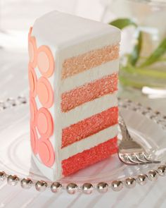 Modern ombre dot wedding cake - what a great idea for the inside!