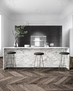 White Kitchen. Love this kitchen! Minimal white marble