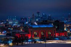 Kansas City Skyline At Night  Union Station  by PittsPhotography