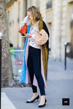 Sofia Sanchez De Betak wearing a Outlaw Moscow veste during Paris Fashion Week Spring Summer 2017: